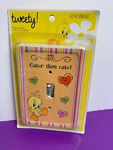 Tweety CUTER THAN CUTE Looney Tunes Ceramic Wall Switch Plate Encore NEW SEALED