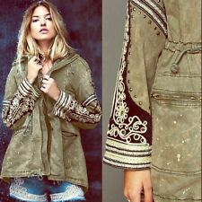 New Fee People Golden Quills Military Parka Hooded Jacket Sz XS - Olive Green