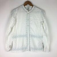 Scotch & Soda Maison Scotch Long Sleeve White Embroidered Shirt Front Button