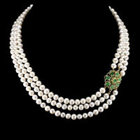 Oval 5x4mm Emerald Ruby White Pearl 925 Sterling Silver Necklace 19 Inches
