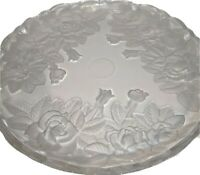 """Floral Design Glass Serving Tray Decorative Platter Round 14"""" Table Decoration"""