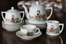 13pc Antique Hand painted Nippon Childs Tea Set Girl in a wagon &dog