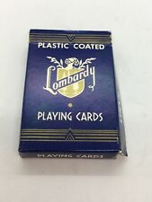 VINTAGE PLASTIC COATED LOMBARDY  PLAYING CARDS / Blue Color Open Box