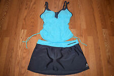 NEW Womens GERRY Belize Turquoise Gray Two Piece Tankini Swim Skirt Swim Suit XL