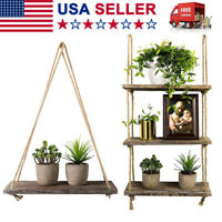 Wall Swing Storage Shelves Wood Board Jute Rope Hanging Shelf DIY Decorate Rack