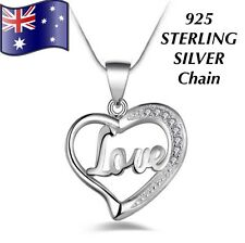 Stunning Crystal Love Heart Pendant Charm 925 Sterling Silver Chain Necklace
