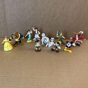 """Disney Bullyland lot of 12 vintage PVC 3"""" figures. Aladdin, Beauty & Beast, Dogs"""
