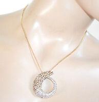 COLLANA donna catenina oro bigiotteria ciondolo strass girocollo collier F305