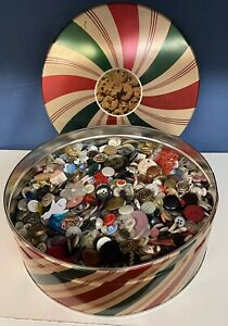 Estate Vintage Button Lot 3 lb in Tin Various Shapes Sizes SKU 565