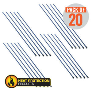 """Stainless Steel Locking Ties 355mm (14"""") long for Exhaust Wrap-Pack 20"""