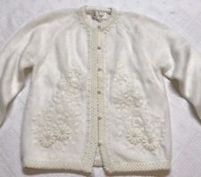 Vintage Granny Chic Rockabilly Womens Large Hand Embroidered Cardigan Sweater