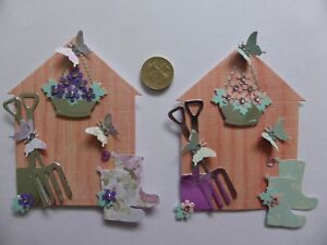 4 Large Ladies Assorted Garden Sheds  Birthday retirement card toppers Mum #2