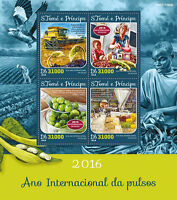 Sao Tome & Principe 2016 MNH UN FAO Int Year of Pulses IYP 4v M/S Plants Stamps