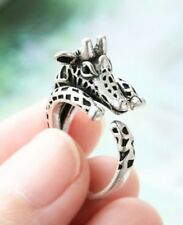 Giraffe Animal Ring Adjustable Silver Finger Wrap Ring Size 5 to 7