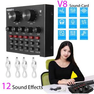 V8 Sound Card Dual Mobile 12 Sound Effects DJ Live Online Singing Android