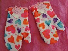 """Valentine's Day (2) Oven Mitt w/multi Color Hearts. 16"""" X 19""""."""