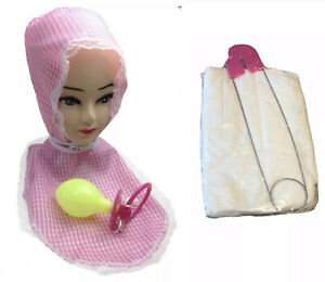 ADULT BIG BABY COSTUME Giant Diaper Jumbo Pin Bonnet Pink Outfit Halloween