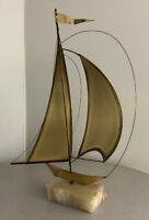 Mid Century Modern Brutalist Nautical Sail Boat Brass Quartz Sculpture Art