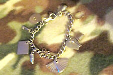 """Vintage Coro Signed 6"""" Charm Bracelet With 10 Charms Lie Detector My Diary"""