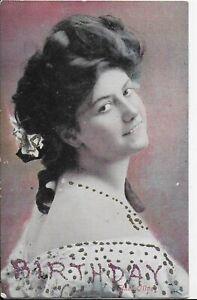 GENUINE VINTAGE GREETINGS POSTCARD,EDWARDIAN ACTRESS,ETHEL OLIVER,1906