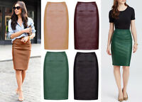 New WOMEN Midi PENCIL Faux Leather Bodycon SKIRT High Waist Fitted Party UK 8-16