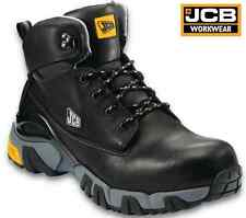 JCB 4x4 MENS BLACK LEATHER SAFETY WORK BOOTS STEEL MIDSOLE & TOE CAP ANKLE SIZE