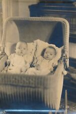 c1905 Twin Babies in Old Fashioned Wicker Baby Buggy Photograph