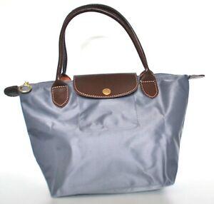 Womens Girls Nylon Tote Shopper School Foldable Bag Size Medium Grey