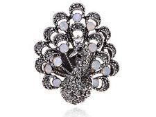 Elegant Silver Vintage Gift Jet Black Czech Peacock Opal Adjustable Rings Band