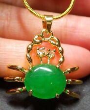 18KGP Gold Plated Green Jade Imitation Diamond Cabochon Crab Pendant Necklace
