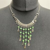 HANDMADE Moonstone Style Beads Bib Collar Necklace Silver Tone Green Boho Arty