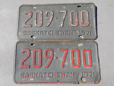 1971 Saskatchewan Canada Pair of License Plates 209-700 ~FastFreeShip