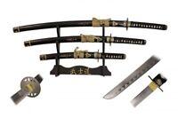 3 Pcs Kill Bill Bride Sword Set with Carbon Steel Blade & 3 Tier Display Stand