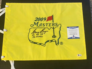 gary player signed 2009 masters flag w/ 61-74-78 + 52 times he played beckett