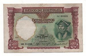 PORTUGAL 500 ESCUDOS 1942 PICK 155 LOOK SCANS