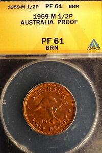1959-M ANACS Pr61 Brown Australia KM-61 Mintage 1,506 Half Penny E0944