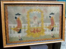 Early 19 th Century Framed Petit Point of 2 Men Carrying a Female in a Carriage