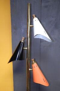 Mid Century Pole Floor Lamp Triple Cone Shade Light Retro MCM Modern