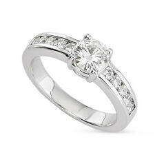 1.10 CT FOREVER ONE MOISSANITE CUSHION SEMI ETERNITY CHANNEL ENGAGEMENT RING