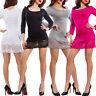 Miniabito donna maxitop fondo pizzo floreale vestito maglia basic sexy VB-420