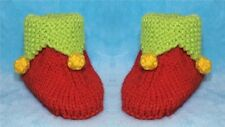 KNITTING PATTERN - Christmas Elf Booties / shoes  fit 0 - 6 month old Baby