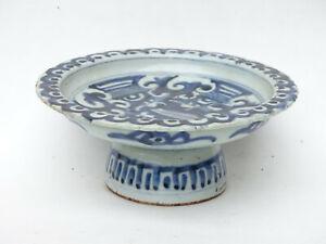 17th C. Antique Chinese Export Porcelain Blue White Bencharong Bowl Thai Market