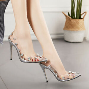 Womens Clear High Heels Rhinestone Transparent Stilettos Pointed Toe Pumps Shoes