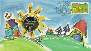 1994 Australia PNC International Year of The Family + 50c Coin  * PRISTINE *