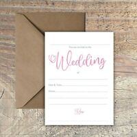 WEDDING INVITATIONS BLANK SIMPLE PINK & WHITE WATERCOLOUR PACKS OF 10