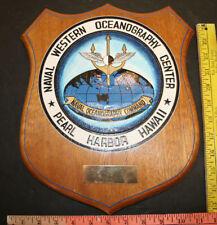 Navy Vintage NAVAL Western Oceanography Center Service Award Plaque Pearl Harbor