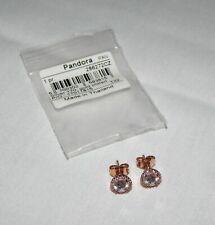 Authentic Pandora Classic Elegance Rose Halo CZ Stud Earrings NEW 286272CZ