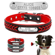 Braided Custom Personalized Dog Collars Leather Padded Dog Pet ID Name Collar
