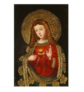 Sacred Heart Of Mary Original Colonial Cuzco Peru Art Oil Painting On Canvas
