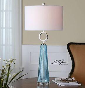"XXL 34"" SEEDED GROOVED BLUE GLASS TABLE LAMP NICKEL METAL NAVIER UTTERMOST"